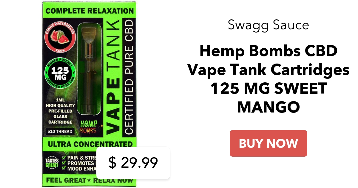 Hemp Bombs CBD Vape Tank Cartridges 125 MG SWEET MANGO